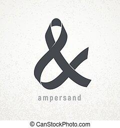 Ampersand. Elegant ribbon vector symbol on grunge background...