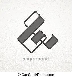 Ampersand. Elegant vector symbol on grunge background. Eps8...