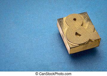 ampersand in letterpress wood type