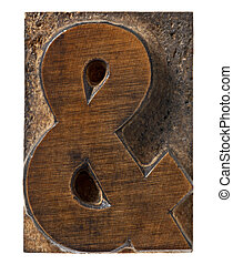 ampersand symbol - isolated vintage wood letterpress type...