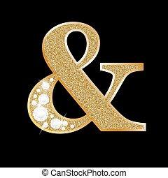 Ampersand symbol of gold