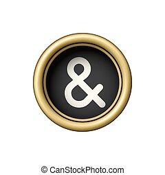 Ampersand Symbol on vintage golden typewriter button.