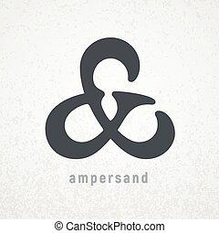 ampersand., vektor, finom, jelkép, grunge, háttér