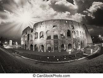 amph, boven, hemel, rome., dramatisch, flavian, nacht, colosseum, aanzicht