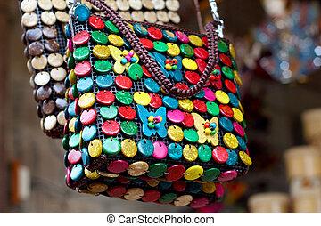 Amphawa Floating Market Thailand handmade bags.