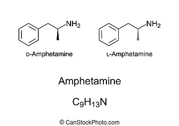Amphetamine, also known as speed, chemical structure - ...