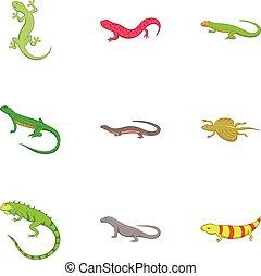 Amphibian reptile species icons set, cartoon style