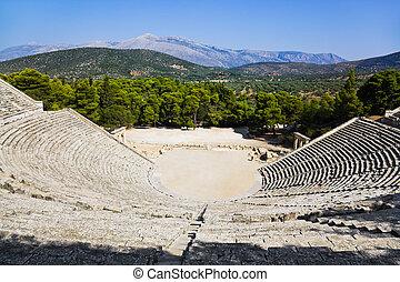 amphithéâtre, ruines,  Epidaurus, Grèce