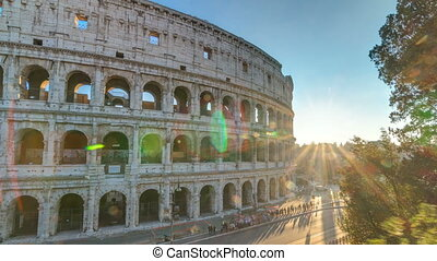 Amphitheater Colosseum view at sunset timelapse top view....