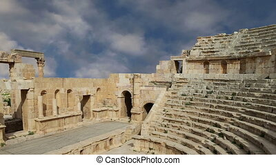 Amphitheater in Jerash (Gerasa of Antiquity), capital and...