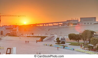 Amphitheater in Katara cultural village with sunset...