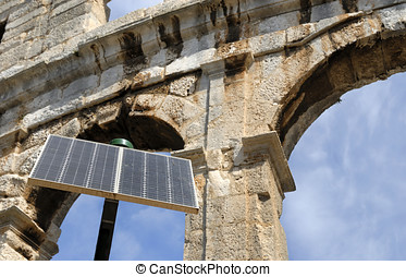 Amphitheater in Pula, Croatia with in front solar cell - One...