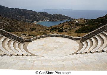 amphitheater Milopotas beach Aegean sea Ios Greek island - ...