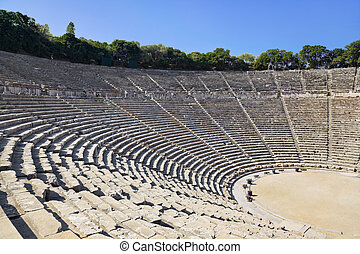 amphitheater, ruïnes, epidaurus, griekenland