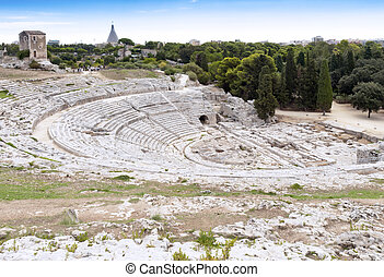 Amphitheater - Syracuse Sicily - The old stone amphitheater...