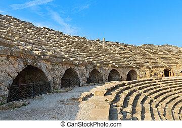 Amphitheatre ancient ruins in Side Turkey.