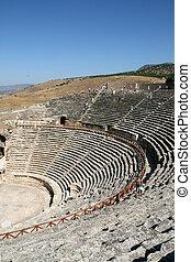 Amphitheatre of ancient Hierapolis in Pamukkale Turkey