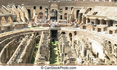 Amphitheatre of the Coliseum Rome, Italy. Time lapse.