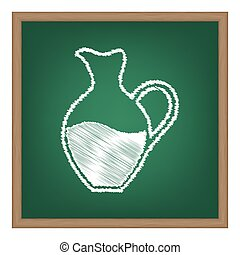amphora, 印。, 白, チョーク, 効果, 上に, 緑, 学校, board.