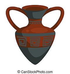 Amphora ancient Greek vase with ornament ceramic pot