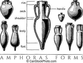 Amphora forms set - Vases shapes. Vector hand drawn ...
