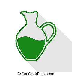 Amphora sign. Green icon with flat style shadow path.