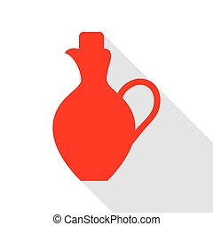 Amphora sign illustration. Red icon with flat style shadow path.