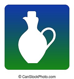 Amphora sign illustration. Vector. White icon at green-blue gradient square with rounded corners on white background. Isolated.