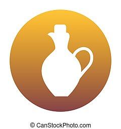 Amphora sign illustration. White icon in circle with golden grad