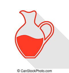Amphora sign. Red icon with flat style shadow path.