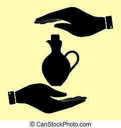 Save or protect symbol by hands. - Amphora sign. Save or...