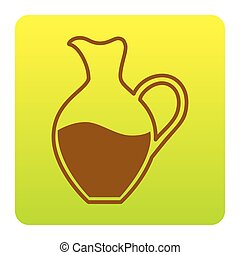 Amphora sign. Vector. Brown icon at green-yellow gradient square with rounded corners on white background. Isolated.