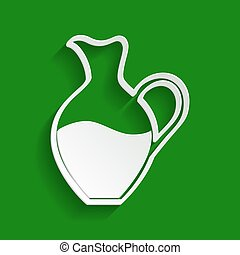 Amphora sign. Vector. Paper whitish icon with soft shadow on green background.