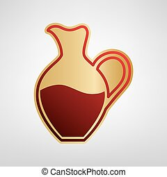 Amphora sign. Vector. Red icon on gold sticker at light gray background.