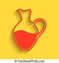 Amphora sign. Vector. Red icon with soft shadow on golden background.