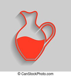 Amphora sign. Vector. Red icon with soft shadow on gray background.