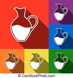 Amphora sign. Vector. Set of icons with flat shadows at red, orange, yellow, green, blue and violet background.