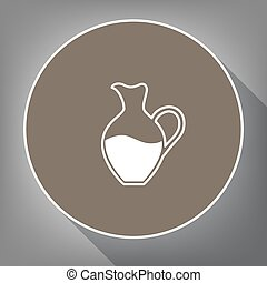 Amphora sign. Vector. White icon on brown circle with white contour and long shadow at gray background. Like top view on postament.