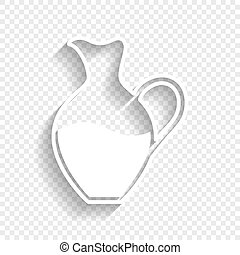 Amphora sign. Vector. White icon with soft shadow on transparent background.