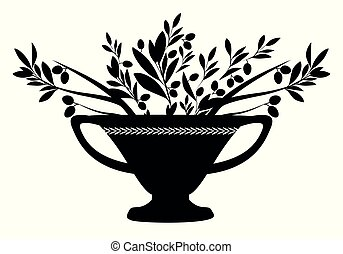 Amphora with olive branches. Symbol of the Mediterranean...