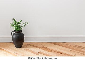 amphore, plante, décorer, vert, salle