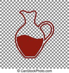 amphore, signe., rouge foncé, arrière-plan., transparent, icône