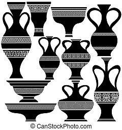 amphore, silhouettes, ensemble, grec