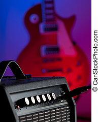 amplificador, guitarra, elétrico