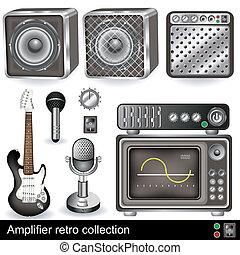 amplificateur, retro, collection