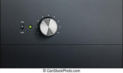 degrading black surface of amplifier with one knob and power led