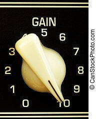 Amplifier Gain Knob - retro guitar amplifier control panel,...