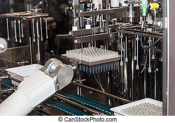 ampola, enchimento, e, marcando, máquina