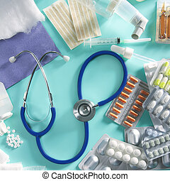 ampolla, médico, píldoras, farmacéutico, llenar, estetoscopio