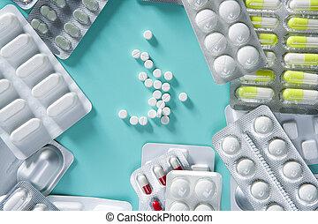 ampolla, médico, píldoras, plano de fondo, escritorio verde